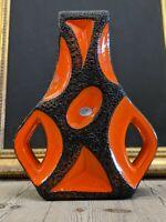 German Orange Roth Keramik Fat Lava Guitar Mid Century Vase
