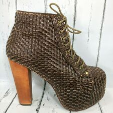 Jeffrey Campbell LITA WV Woven Brown Leather Lace Up Booties Women US 9