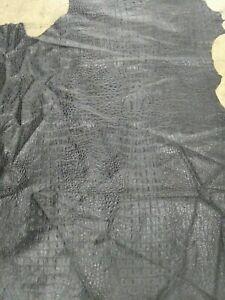 Lambskin Hide leather skin Embossed Black Croc Gator Black 1.5 oz 0.6 mm 9 sq.ft