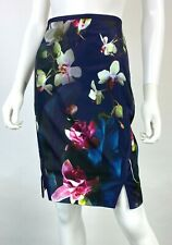 Ted Baker Sz 3 New 8 US 44 IT M Navy Green Pencil Dress Skirt Floral Runway Auth
