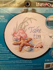 """Learn-A-Craft """"Take Time"""" Counted Cross Stitch Kit-6 Inch Round, Seashells! New!"""