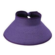 Women Summer Straw Headless Roll Up Foldable Beach Wide Brim Sun Hat Visor Cap