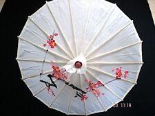 Giapponese S WHITE CHERRY BLOSSOM Parasol Ombrello Festa Matrimonio Ragazza Cinese