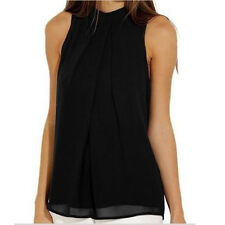Damen Chiffon Ärmellos Bluse Neckholder Shirt Hemd T-Shirt Oberteile Tops Tunika
