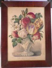 Currier & Ives Print the Vase of Flowers Framed Lithograph Colorful Antique