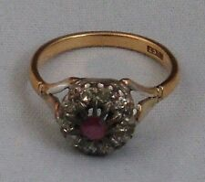 Antik Rubin Diamant Blüten Ring 750 gold