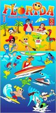 "30""x60"" Florida Comic ""Fun in The Sun"" Velour Beach Towel"