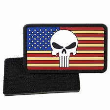 PVC Morale Patch American Flag Punisher 3D Badge Hook #11 LIVABIT Airsoft