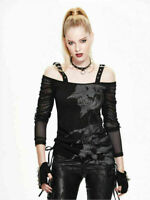 Devil Fashion Women Casual Rock Black Mesh goth Top punk Long Sleeve Tee tshirt
