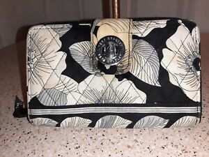 Vera Bradley Camellia Turn Lock  Zip Around Wallet Black Gray White Floral