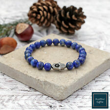 Lapis Lazuli Hamsa Bracelet High Quality Genuine Lapis Gemstone Beads