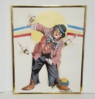 Oberstein Clown Print Framed Triptych Jester Hobo Carnival Circus 15 2/8""