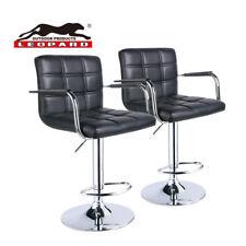 Leopard Square Back Adjustable Bar Stools with armrest,Set of 2,Black ( Large )