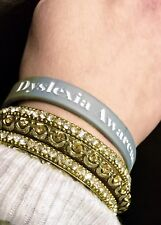 Dyslexia Awareness Bracelet - Silver Metallic and White - Unisex (Set of 3)