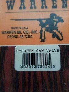 Muzzleloader black powder accessories. Warren pyrodex can valve.