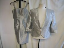 Ladies Outfit Social Occasion UK 6 - jacket & dress, silver, jeweled detail 2041