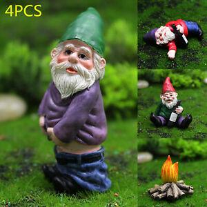4X Mini Drunk Gnomes Dwarf Fairy Garden Statue Miniatures Courtyard Elf Figure
