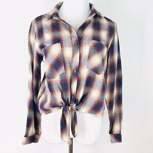 Cloth & Stone Anthropologie Large Tie Front Plaid Button Down Shirt NEW
