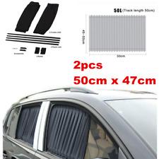 2pcs Universal 50x47cm Adjustable VIP Car Window Curtain Sunshade UV Protection
