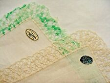 Pair of Pure Irish Linen Hankies Handkerchiefs Unused with Original Stickers