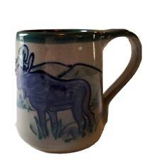 Great Bay Pottery N. Hampton NH Hand Made Stoneware 12 oz Mug 2004 Elk Moose EUC