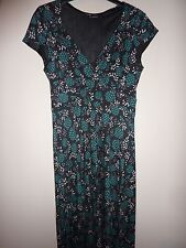 Planet black, blue and green flowers, short sleeved dress. Size 10