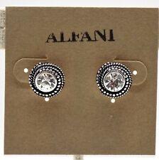 "Alfani Button Stud Earrings Round Silver-tone Clear Crystal Mil-grain 1/2"""
