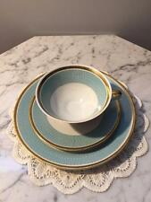 Beautiful Antique Bareuther Cup and Saucer Trio Bavaria Teal and Gold