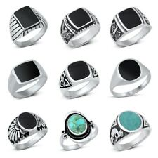 NEW! 925 Sterling Silver  TURQUOISE & ONYX  STONE RINGS SIZE 7-13