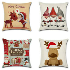 "18"" Cartoon Christmas elk Cotton Linen Home Decorative Pillow Case Cushion CBJN"