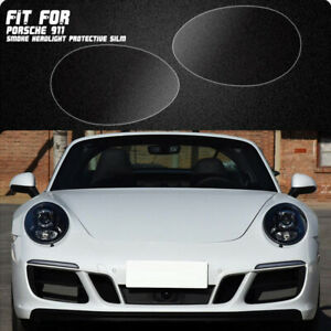 LH+RH Smoke TPU Headlights Protective Precut Film Sticker Cover For Porsche 911
