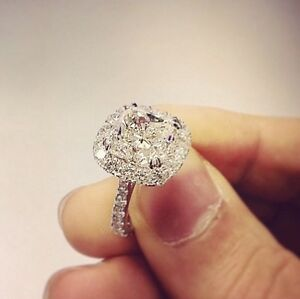 1.70 TCW Natural Cushion Halo Pave Diamond Engagement Ring D-E Color GIA