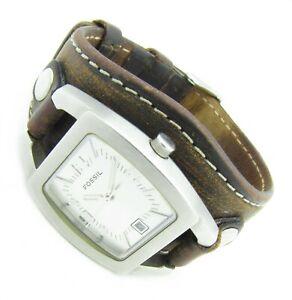 Fossil FUEL Damen Armbanduhr Leder braun Datum JR-8130 5ATM Batterie neu N113