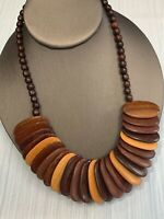 "Vintage Bohemian Exotic Large Wood Beaded Bib Necklace 18"" Black brown tan"