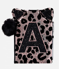 New Justice Girls Cheetah Sequin Faux Fur Journal Diary Notebook Initial