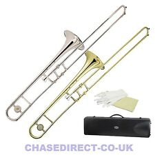 More details for trombone bb tenor slide in nickel silver or brass - chase outfit with hard case