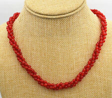 """NEW Beautiful 3 shares 4 mm red Ruby round Beads Gemstone Necklace 18 """"AAAAA"""