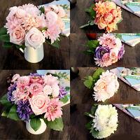 Artificial Fake Rose Daisy Dahlia Silk Flower Bridal Home Wedding Garden Decor