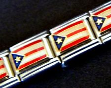 @2 pcs LOT SALE, PUERTO RICO FLAG ENAMEL ITALIAN MODULAR CHARM, 9mm Single Link