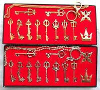 12pcs Kingdom Hearts II KEY BLADE Necklace Pendant+Keyblade+Keychain Set