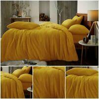 TEDDY BEAR FLEECE DUVET COVER Quilt Warm Bedding Set Ochre Mustard Double King