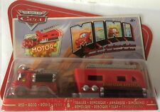 DISNEY PIXAR THE WORLD OF CARS MINI RED & TRAILER MOTOR CARDED NEW
