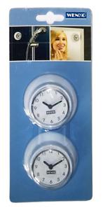 WENKO 21823100 Kunststoff Badezimmeruhr/Baduhr mit Saugnapf 2er Pack, Ø 6 cm