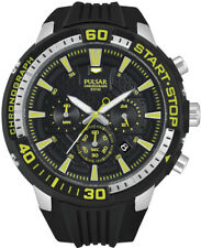 Pulsar Men's On The Go PT3503 Black Analog Chronograph Watch