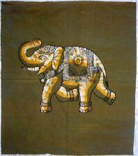 Éléphant de cérémonie Tenture indienne 100% vrai batik Fait main Collection Inde
