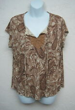 FADED GLORY Women's Brown Multi-Colored Print Top Blouse Lace Front Plus Size XL