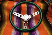 """Mooneyes Green Metalflake Steering Wheel 13"""" with holes in spokes Rat Fink rod"""