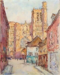 Antique French Watercolor, Gothic Cathedral of Sens, Burgundy, Signed Lacroix