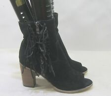 "Mia Black Suede 3"" Block High Heel Open Toe Side Frill Sexy Ankle Boots Size 10"