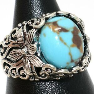 Gorgeous Oval Blue Turquoise Ring Women Jewelry Tibetan Silver Size 6 7 8 9